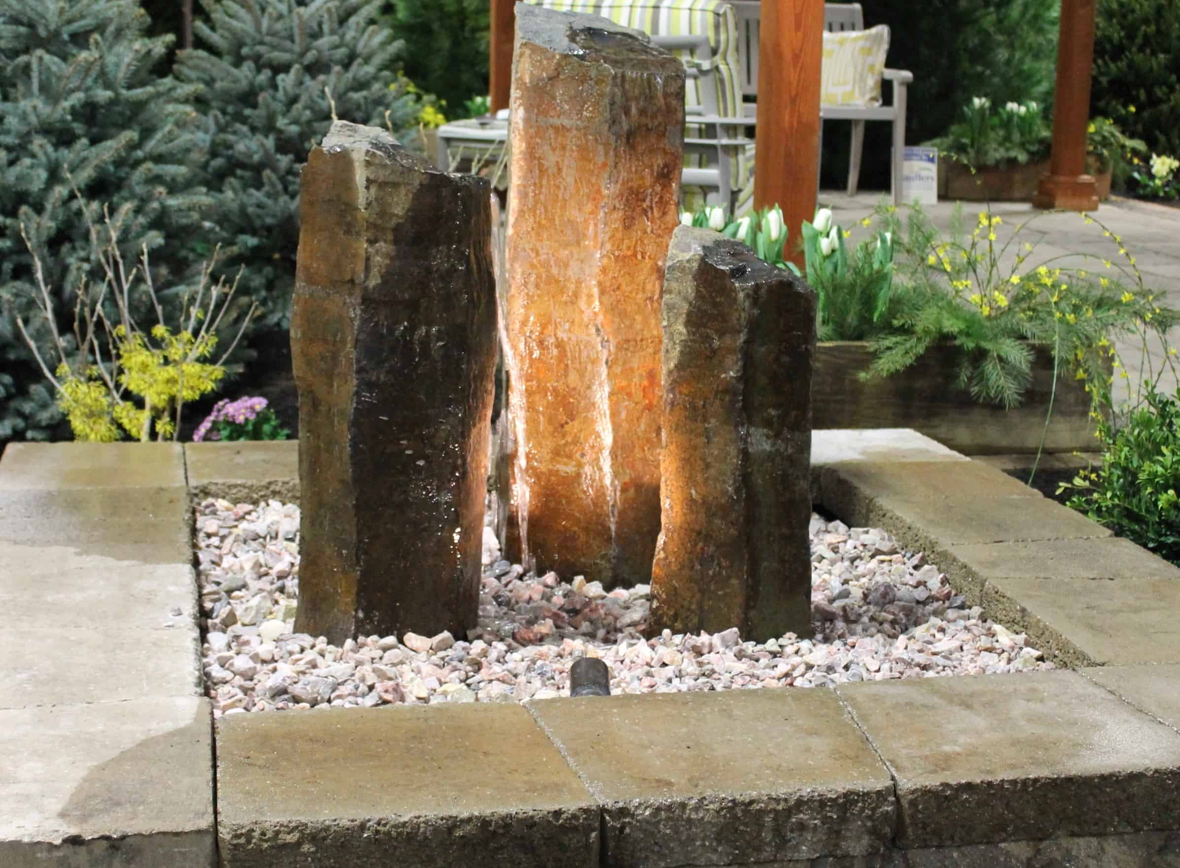 Rock Column Fountain With 5X5 Size
