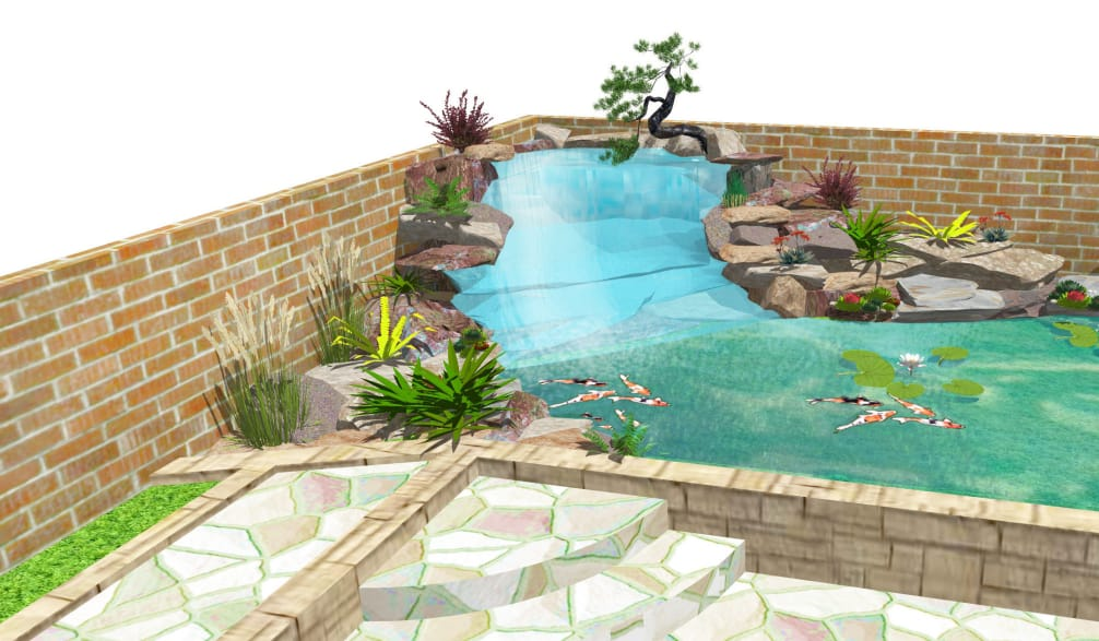 hand drawn koi pond with brick retaining wall and 3 steps