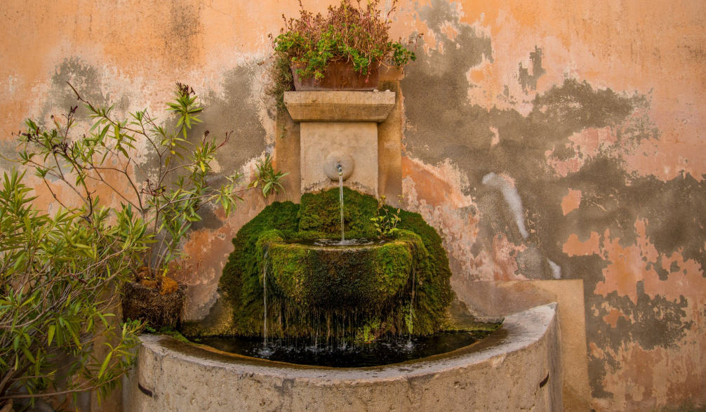 natural wall fountain with moss