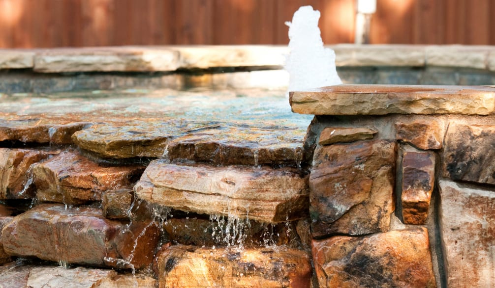 natural rock fountain installation
