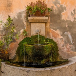 wall fountain with green moss and two tiers